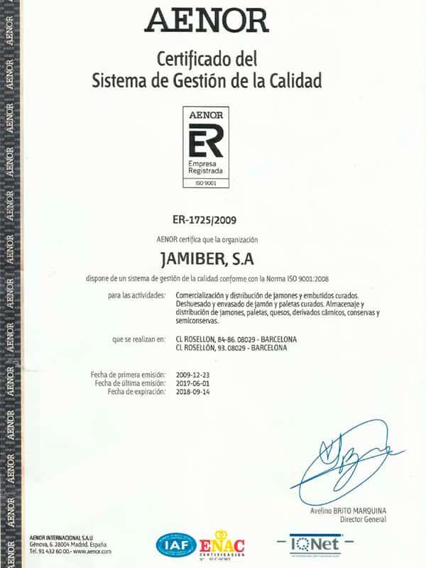 Certificado Roysan AENOR