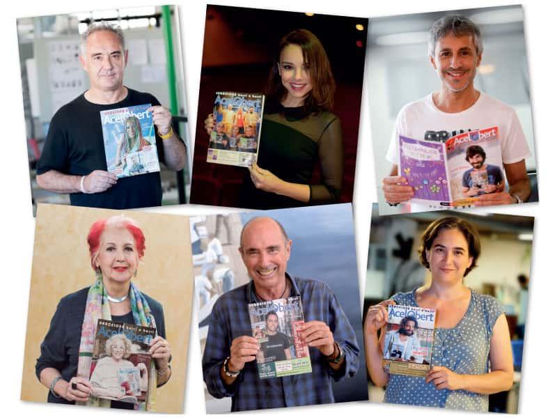 Portades de la revista Acelobert, Ferran Adrià, Chenoa, Sergio Dalma, Rosa Maria Calaf, Lluís Llach i Ada Colau